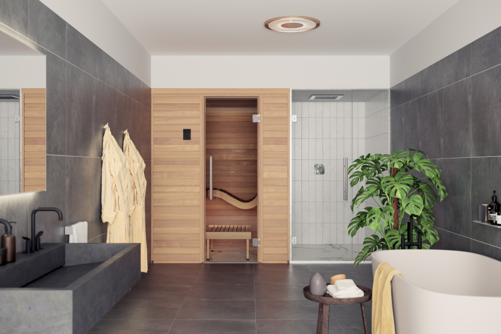With its ergonomic design and special features, the Baia sauna is particularly attractive thanks to its curved seating.